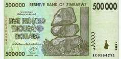 Зимбабве: 500000 долларов 2008 г.