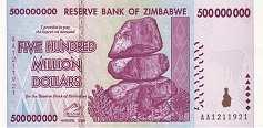 Зимбабве: 500 миллионов долларов 2008 г.